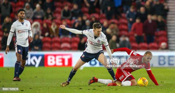 MIDDLESBROUGH ENGLAND DECEMBER Middlesbrough's Martin Braithwaite is fouled by Bolton Wanderers' Craig Noone during the Sky Bet Championship match...