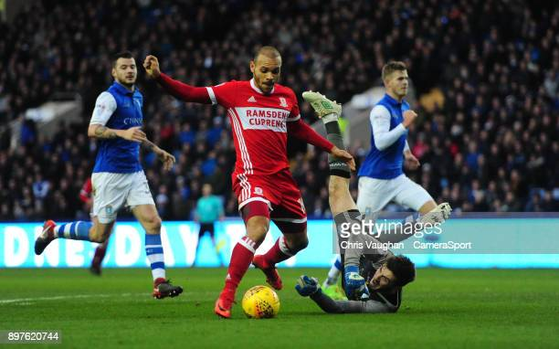 Middlesbrough's Martin Braithwaite rounds Sheffield Wednesday's Joe Wildsmith during the Sky Bet Championship match between Sheffield Wednesday and...