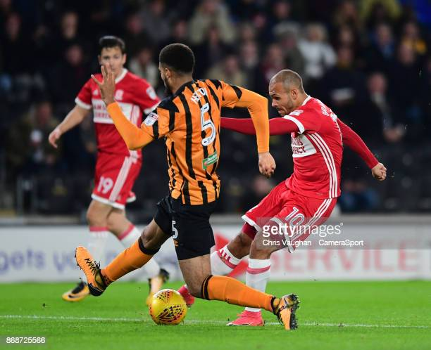 Middlesbrough's Martin Braithwaite scores the opening goal during the Sky Bet Championship match between Hull City and Middlesbrough at KCOM Stadium...