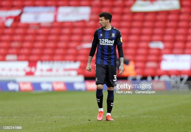 Middlesbrough's Marvin Johnson during the Sky Bet Championship match between Barnsley and Middlesbrough at Oakwell Stadium on April 10, 2021 in...