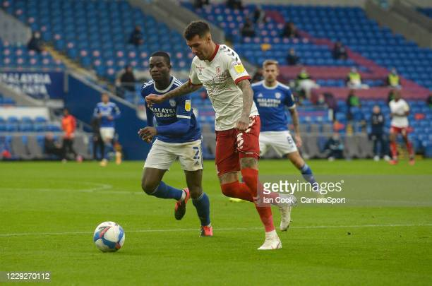 Middlesbrough's Marvin Johnson prepares to whip the ball into the box during the Sky Bet Championship match between Cardiff City and Middlesbrough at...