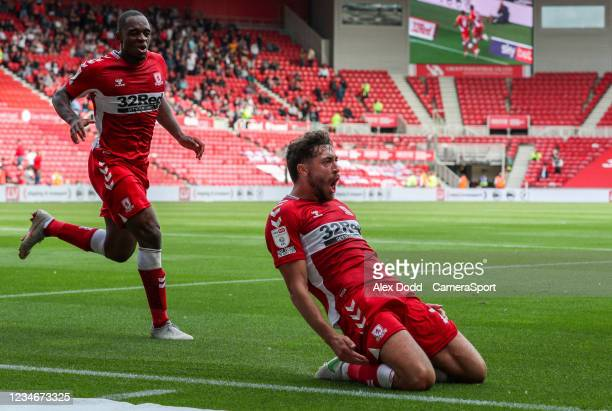 Middlesbrough's Matt Crooks celebrates scoring his side's second goal during the Sky Bet Championship match between Middlesbrough and Bristol City at...