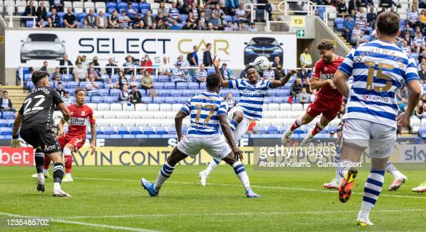Middlesbrough's Matt Crooks heads the ball into the net only for him to be given offside during the Sky Bet Championship match between Reading and...