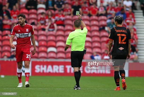 Middlesbrough's Matt Crooks is booked in the first half during the Sky Bet Championship match between Middlesbrough and Blackpool at the Riverside...