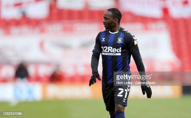 Middlesbrough's Neeskens Kebano during the Sky Bet Championship match between Barnsley and Middlesbrough at Oakwell Stadium on April 10, 2021 in...