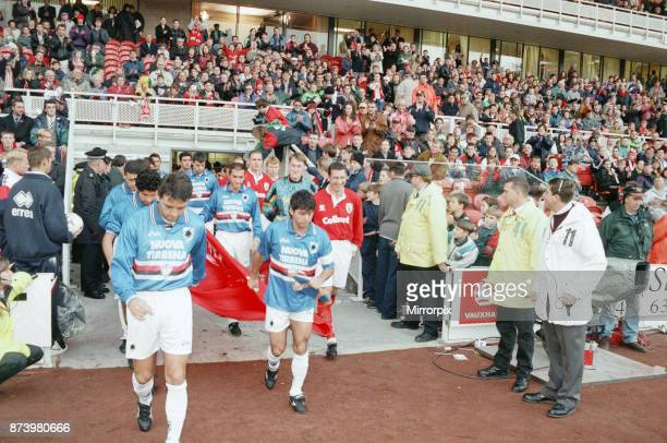 Middlesbrough's official opening of their new Riverside Stadium in a friendly against Italian side Sampdoria. Middlesbrough and Sampdoria players...