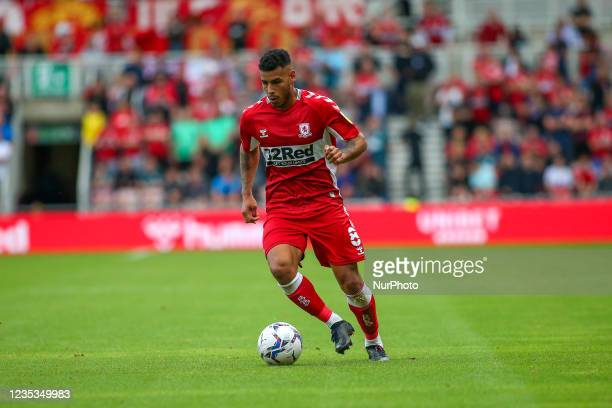 Middlesbrough's Onel Hernández during the Sky Bet Championship match between Middlesbrough and Blackpool at the Riverside Stadium, Middlesbrough on...