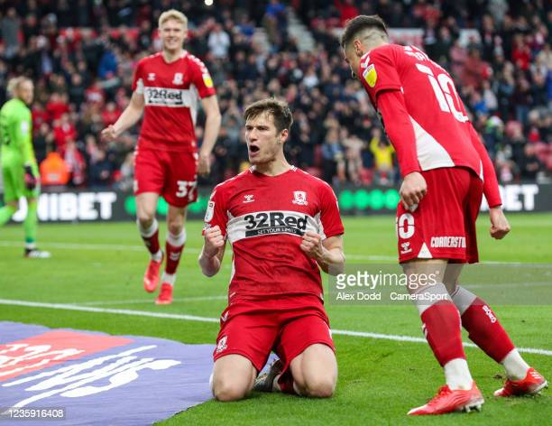Middlesbrough's Paddy McNair celebrates scoring the opening goal from the penalty spot during the Sky Bet Championship match between Middlesbrough...