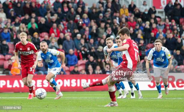 Middlesbrough's Paddy McNair scores the opening goal from the penalty spot during the Sky Bet Championship match between Middlesbrough and...