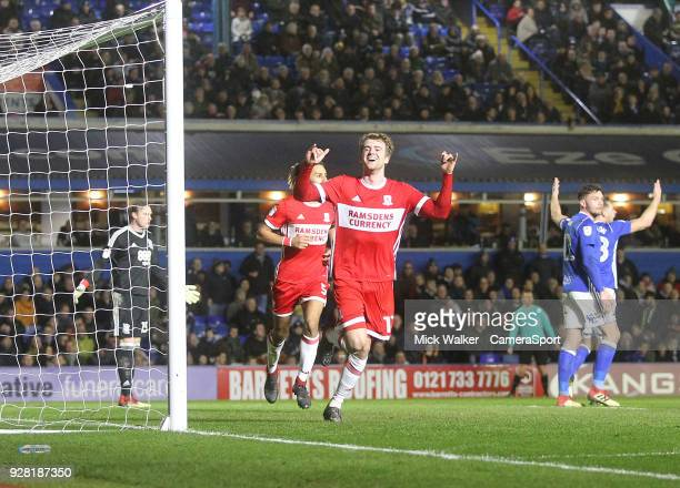 Middlesbrough's Patrick Bamford celebrates scoring his sides first goal during the Sky Bet Championship match between Birmingham City and...
