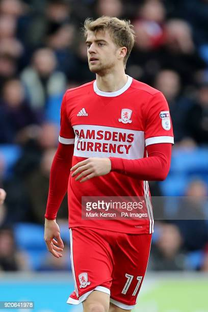 Middlesbroughâs Patrick Bamford during the Sky Bet Championship match at The Cardiff City Stadium