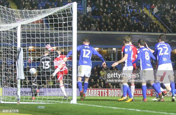 Middlesbrough's Patrick Bamford scores his sides first goal beating Birmingham City's David Stockdale during the Sky Bet Championship match between...