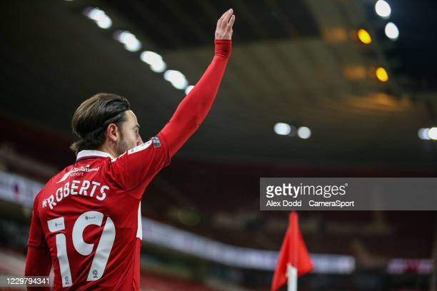 Middlesbrough's Patrick Roberts takes a corner during the Sky Bet Championship match between Middlesbrough and Derby County at Riverside Stadium on...