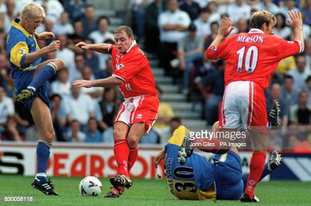 FEATURE Middlesbrough's Paul Gascoigne and Paul Merson as they try and find a way past Leeds United Gunnar Halle and Robert Molenaar during this...