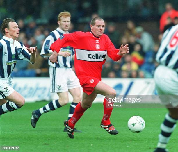 Middlesbrough's Paul Gascoigne attacks the West Bromwich Albion defence during today's Nationwide First division match at the Hawthorns PA Photos