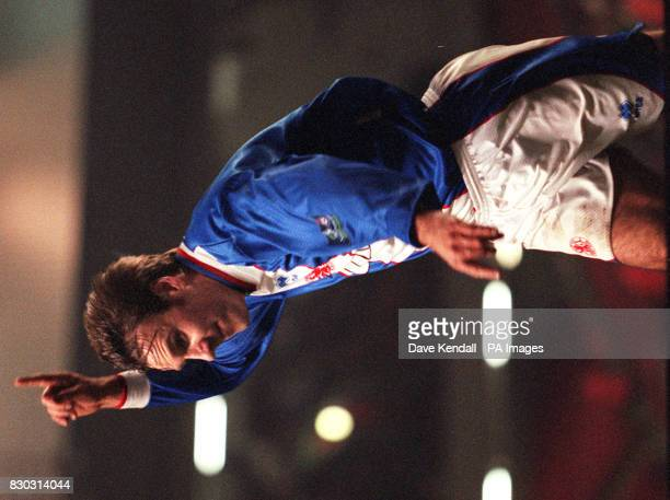 Middlesbrough's Paul Merson celebrates his goal against Liverpool as he claims the first strike of tonight's Coca Cola Cup semfinal match at Anfield...