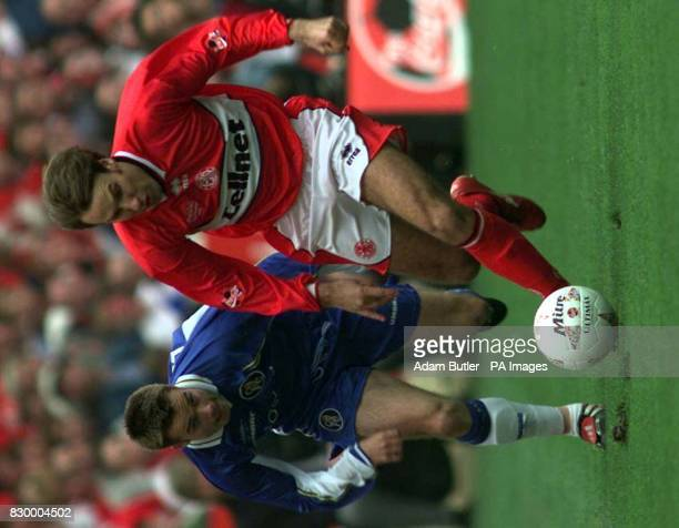 Middlesbrough's Paul Merson is chased by Chelsea's Graeme Le Saux during the Coca Cola Cup Final at Wembley today Photo by Adam Butler/PA*EDI*