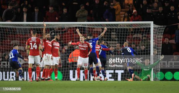 Middlesbrough's players appeal for a foul after Lewis Grabban scored Nottingham Forest's 2nd and equalising goal during the Sky Bet Championship...