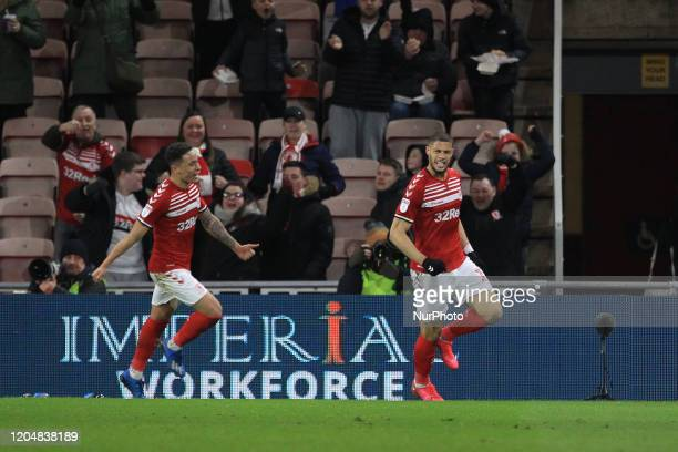 Middlesbrough's Rudy Gestede celebrates after scoring to level the score at 11 during the Sky Bet Championship match between Middlesbrough and...