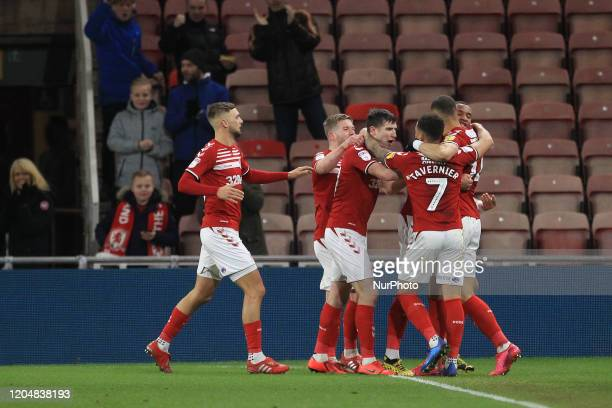 Middlesbrough's Rudy Gestede celebrates with his team mates after scoring to level the score at 11 during the Sky Bet Championship match between...
