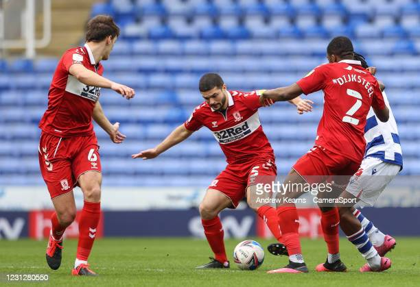 Middlesbrough's Sam Morsy defends during the Sky Bet Championship match between Reading and Middlesbrough at Madejski Stadium on February 20, 2021 in...