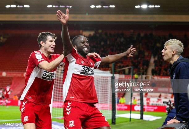 Middlesbroughs Sol Bamba celebrates his side's second goal during the Sky Bet Championship match between Middlesbrough and Barnsley at Riverside...