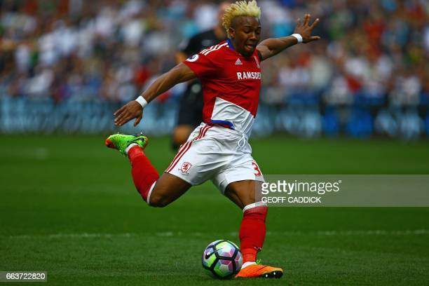 Middlesbrough's Spanish midfielder Adama Traore prepares to shoot during the English Premier League football match between Swansea City and...