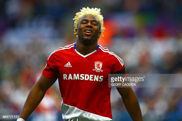 Middlesbrough's Spanish midfielder Adama Traore reacts to a missed chance during the English Premier League football match between Swansea City and...