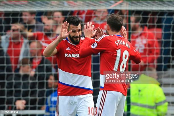 Middlesbrough's Spanish striker Alvaro Negredo celebrates scoring the opening goal during the English Premier League football match between...