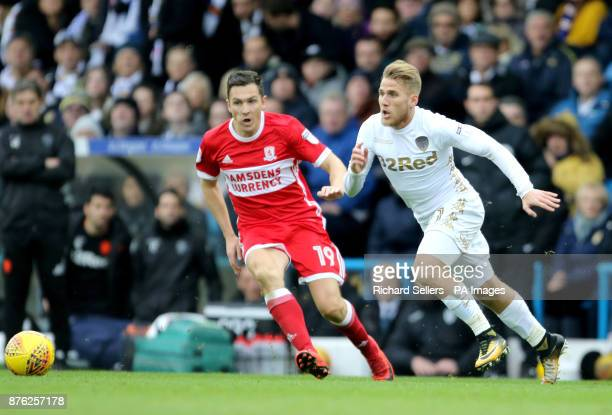 Middlesbrough's Stewart Downing and Leeds United's Samuel Saiz during the Sky Bet Championship match at Elland Road Leeds