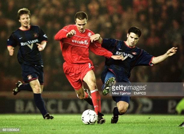 Middlesbrough's Szilard Nemeth battles with Sunderland's Bernt Haas
