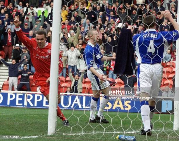 Middlesbrough's Szilard Nemeth celebrates his goal against Everton during their AXAsponsored FA Cup sixthround match at the Cellnet Riverside Stadium...