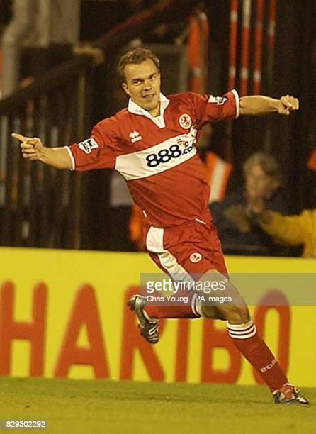 Middlesbrough's Szilard Nemeth celebrates scoring his side's second goal against Fulham during their Barclays Premiership match at Craven Cottage...