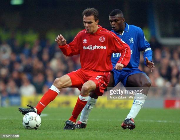 Middlesbrough's Szilard Nemeth comes under pressure from Chelsea's Marcel Desailly during their FA Barclaycard Premiership match at Stamford Bridge...