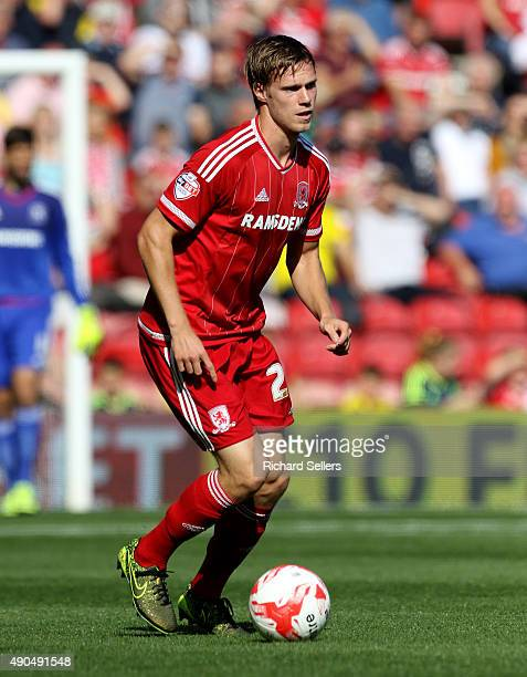 Middlesbrough's Tomas Kalas in action during the Sky Bet Championship match between Middlesbrough and Leeds United at the Riverside on September 27...