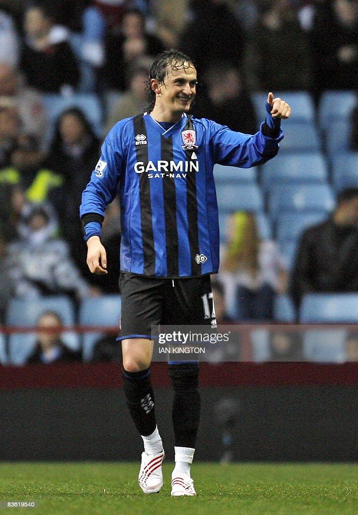 Middlesbrough's Turkish player Tuncay Sa : News Photo