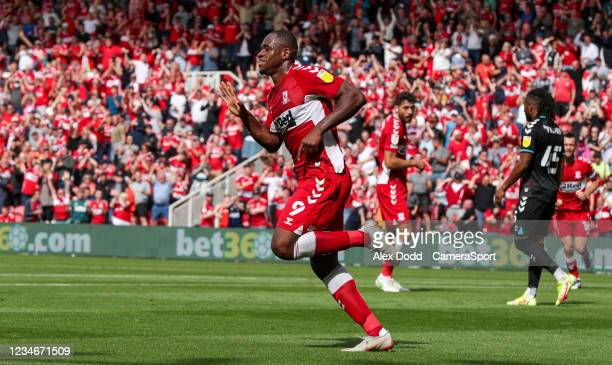 Middlesbrough's Uche Ikpeazu celebrates scoring the opening goal during the Sky Bet Championship match between Middlesbrough and Bristol City at...