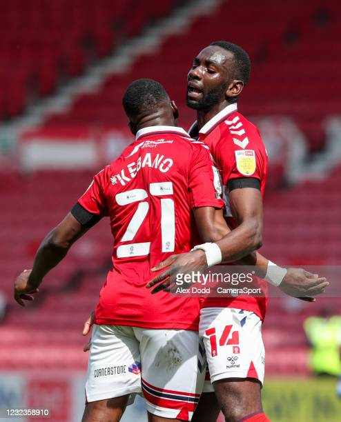 Middlesbrough's Yannick Bolasie celebrates scoring his side's first goal with Neeskens Kebano during the Sky Bet Championship match between...