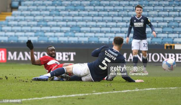 Middlesbrough's Yannick Bolasie misses a first half chance during the Sky Bet Championship match between Millwall and Middlesbrough at The Den on...