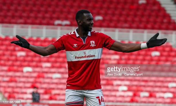 Middlesbrough's Yannick Bolasie reacts during the Sky Bet Championship match between Middlesbrough and Stoke City at Riverside Stadium on March 13,...