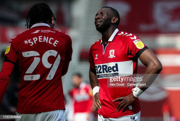 Middlesbrough's Yannick Bolasie reacts during the Sky Bet Championship match between Middlesbrough and Queens Park Rangers at Riverside Stadium on...