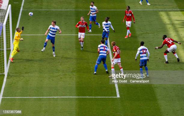 Middlesbrough's Yannick Bolasie scores his side's first goal during the Sky Bet Championship match between Middlesbrough and Queens Park Rangers at...