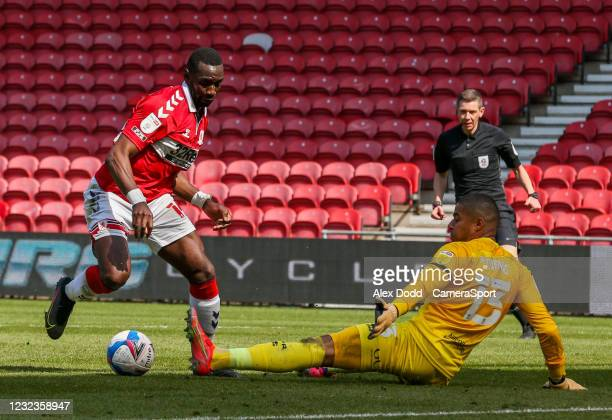 Middlesbrough's Yannick Bolasie takes on Queens Park Rangers' Seny Dieng during the Sky Bet Championship match between Middlesbrough and Queens Park...