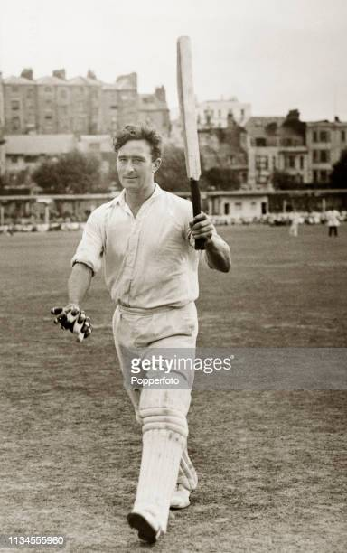 Middlesex and England cricketer Denis Compton Denis Compton leaving the field at Hastings after scoring his 17th century in the summer of 1947,...