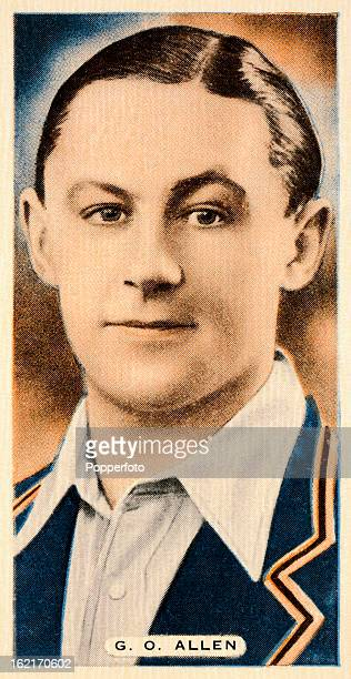 Middlesex and England cricketer George Allen featured on a vintage cigarette card published circa 1935