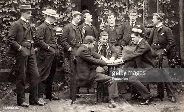 Middlesex and England cricketer Pelham Warner playing cards with some of his Rugby School mates circa 1890 Pelham Warner went on to play cricket for...