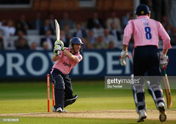 Middlesex batsman Eoin Morgan hits out during the Friends Provident T20 match between Middlesex and Somerset at Lords on June 9 2010 in London England