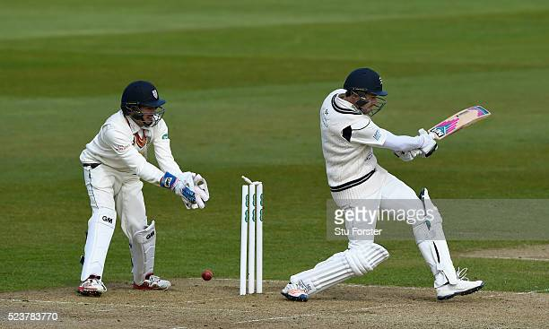 Middlesex batsman Nick Compton is bowled by Ryan Pringle as Michael Richardson looks on during day one of the Specsavers County Championship Division...
