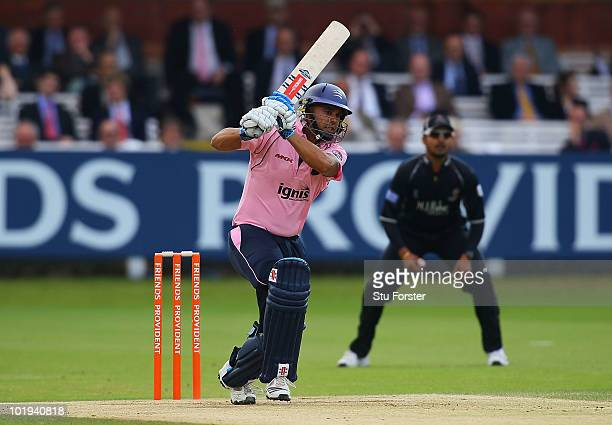 Middlesex batsman Scott Newman in action during the Friends Provident T20 match between Middlesex and Somerset at Lords on June 9 2010 in London...