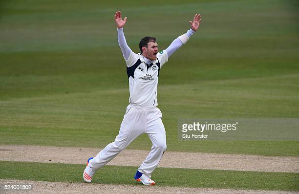 Middlesex bowler James Harris appeals for a wicket during day two of the Specsavers County Championship Division One match between Durham and...